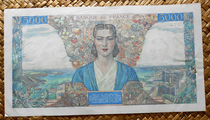 francia 5000 francos 1942 reverso