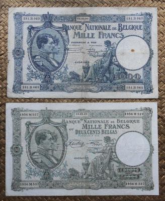 Bélgica 1.000 francos 1926 vs 1.000 francos-200 belgas 1943 anversos