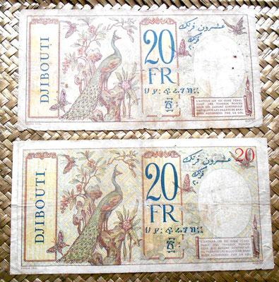 Djibouti 20 francos 1928-1938 texto azul vs.texto rojo reverso