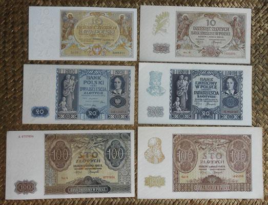 Polonia serie zlotych 1929-1941 anversos