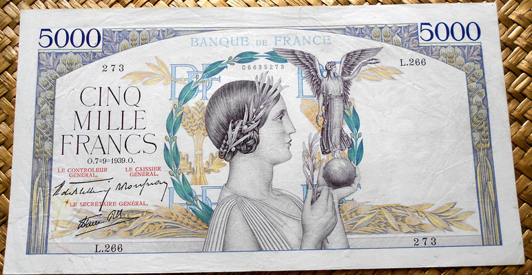 Francia 5000 francos 1939 anverso