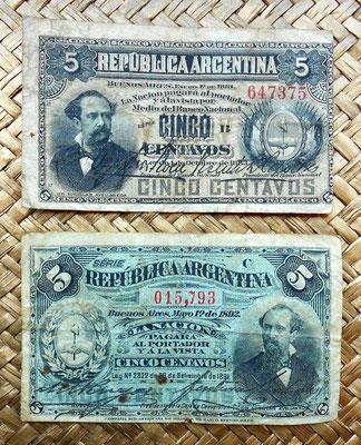 Argentina 5 centavos de peso 1883 vs. 5 centavos de peso 1891 anversos