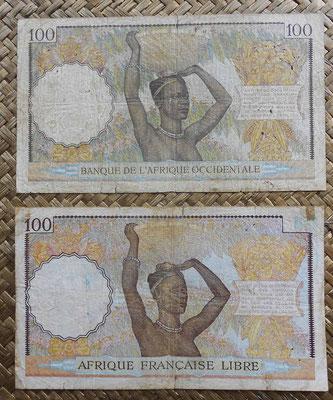 AOF 100 francos 1936 vs. AEF 100 francos 1941 reversos