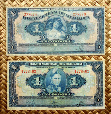 Nicaragua 1 cordoba 1939 vs. 1 cordoba 1941 anversos