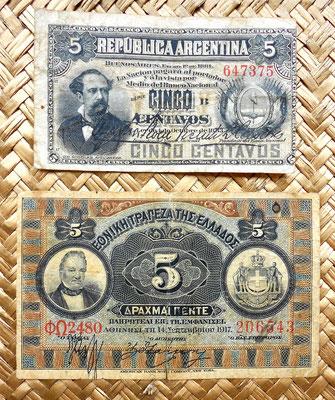 Argentina 5 pesos 1884 vs. Grecia 5 dracmas 1917 anversos