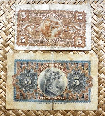Argentina 5 pesos 1884 vs. Grecia 5 dracmas 1917 reversos