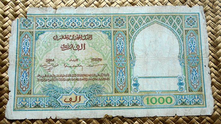 Marruecos colonial 1000 francos 1950 reverso