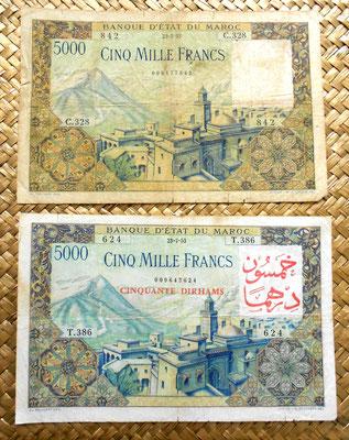 Marruecos 5000 francos 1953 vs resello 50 dirhams anverso