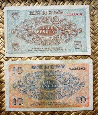 España Junta de Defensa Burgos 1936 5 pesetas vs. 10 pesetas reversos