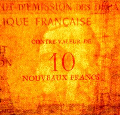 Isla Reunión 500 francos sobreimpreso 10 nuevos francos 1971 marca de agua