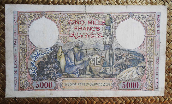 Argelia 5000  francos 1942 reverso