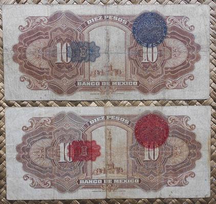México 10 pesos 1934 Alegorías ABNC series I y H reversos