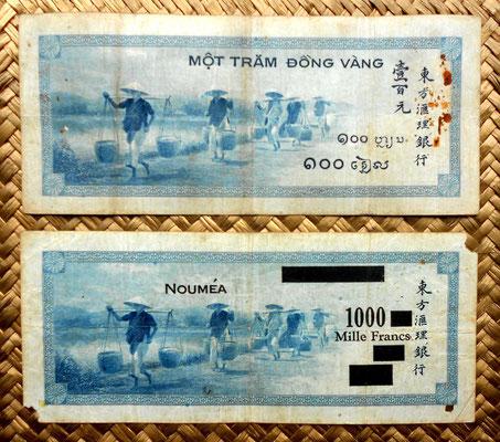 Indochina francesa 100 piastras 1945 vs. Nueva Caledonia -Noumea 1000 francos 1944 reversos