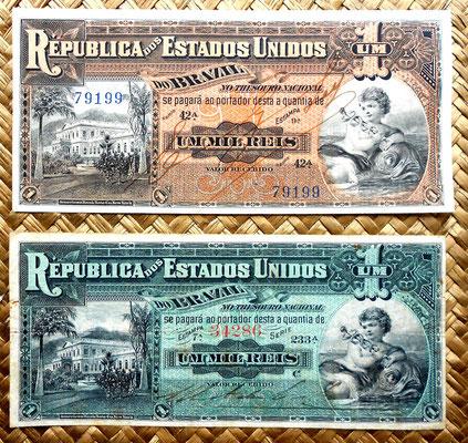 Brasil 1 mil reis 1917 vs. 1 mil reis 1891 anversos