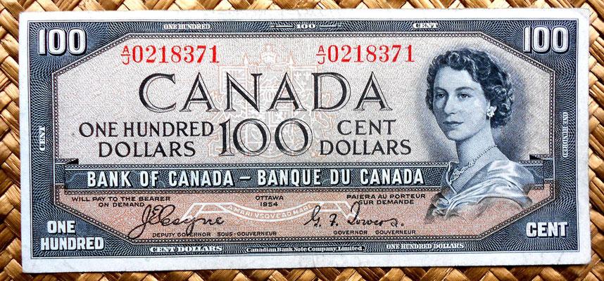 Canada 100 dolares 1954 -Devil's Hair- anverso
