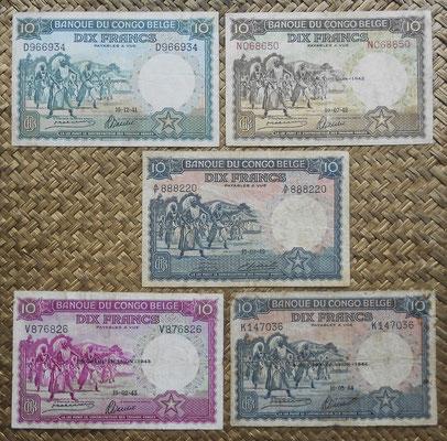 Congo Belga 10 francos Danza Watusi 1941-42-43-44-49 anversos