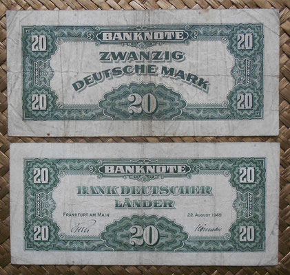 Alemania RFA 20 mark 1948 ocup. aliada WWII vs. 20 mark 1949 Bank Deutscher Lander reversos