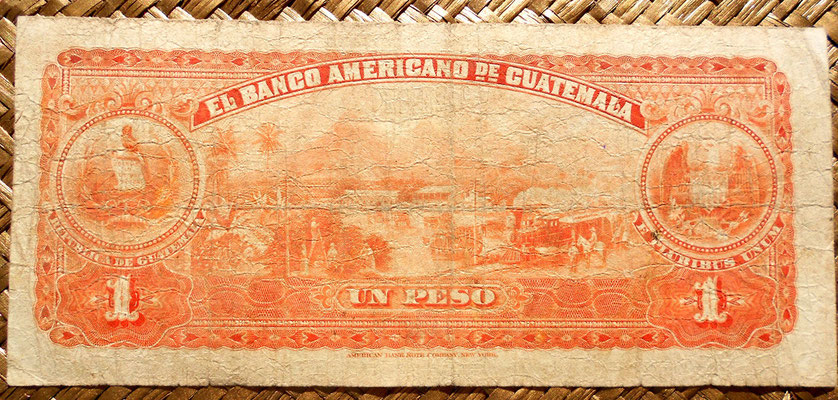 Guatemala 1 peso 1918 reverso