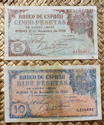 España Junta de Defensa Burgos 1936 5 pesetas vs. 10 pesetas anversos