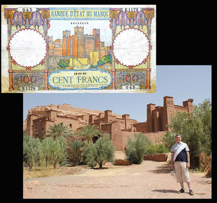 desde el ksar de Ait Ben Haddou en los 100 francos de Marruecos de 1941