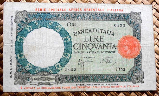 Italia AOI 50 liras 1938 anverso