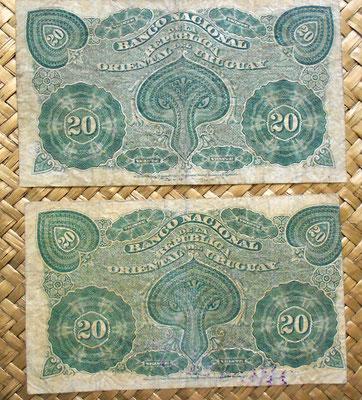 Uruguay 1887 20 centesimos oro sellado vs. resello Rio Negro reverso