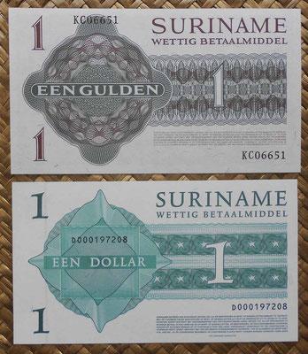Surinam 1 gulden 1974 vs. 1 dollar 2004 reversos