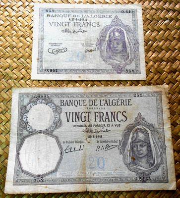 Argelia 20 francos 1944 vs. 1941 anversos