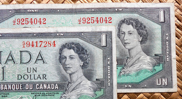 Canada 1 dolar 1954 -Devil's Hair- vs. 1 dolar 1954 -modificada anversos
