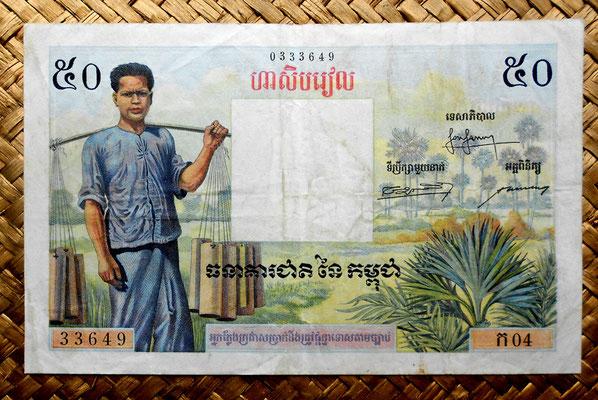 Camboya, 50 riels 1956 (146x92mm) pk.3A anverso