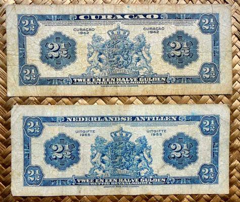 Curacao 2,5 gulden 1942 vs. Antillas holandesas 2,5 gulden 1955 reversos