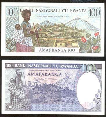 Ruanda 100 francos 1978 vs. 100 francos 1989 reversos