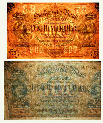 Alemania Sachsische Bank 500 marcos 1890 vs. 1922 marcas de agua