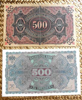 Alemania Sachsische Bank 500 marcos 1890 vs. 1922 reversos