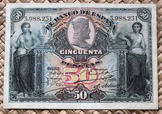 España 50 pesetas 1907 (120x80mm) pk.63 anverso