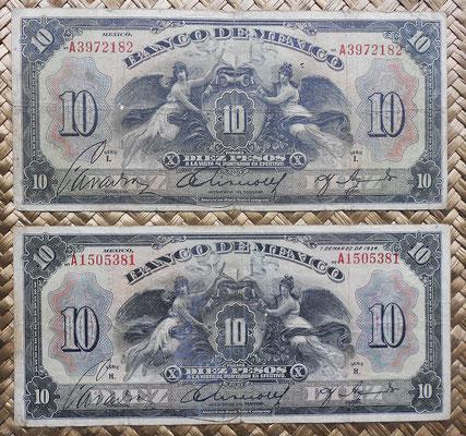 México 10 pesos 1934 Alegorías ABNC series I y H anversos