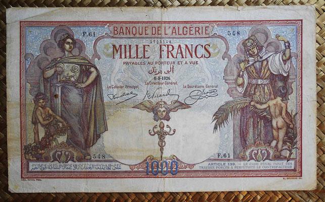 Argelia 1000  francos 1926 anverso