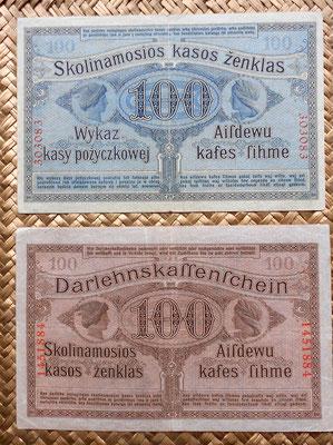 Lituania Ocup. alemana WWI Posen 100 rublos 1916 vs Kowno 100 marcos 1918 reversos