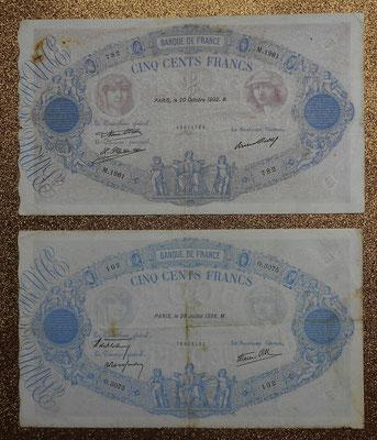 Francia 500 francos Bleu et Rose 1932 vs. 1938 anversos