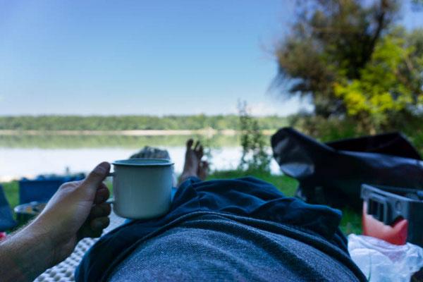 Kaffeepause für Reini. Luxus-Momente.