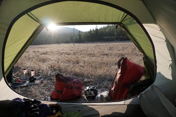 Der Blick am Morgen aus dem Zelt :)