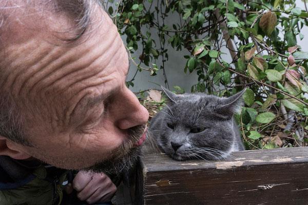 Die Katze ist völlig unbeeindruckt vom Herrn Papa.