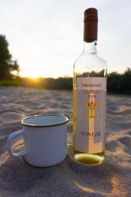 Ungarischer Wein am kroatischen Strand der Drau. Genuss pur.