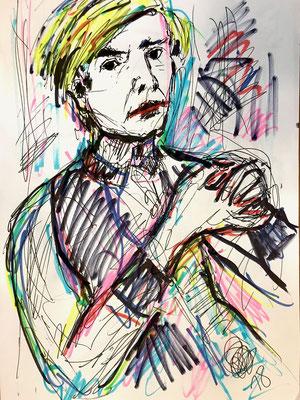 Andy Warhol/ Filzstift auf DIN A4 Blatt/ 750,00 Euro