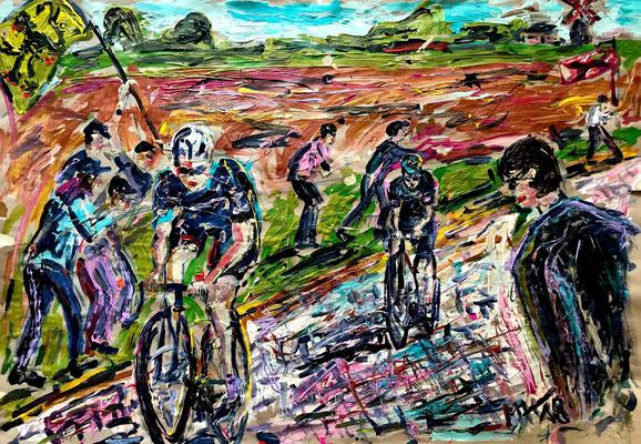 Flandern + Mühle + Radrennen/ Acryl auf Papier/ ca. 100 cm x 80 cm