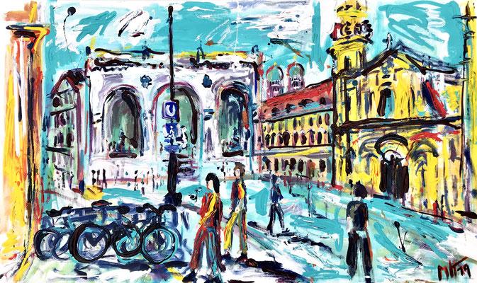 München - Am Odeonsplatz/ Acryl auf Leinwand/ 100cm x 80 cm