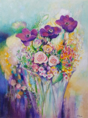 """""""Birthday Flowers"""" - colored pencil"""