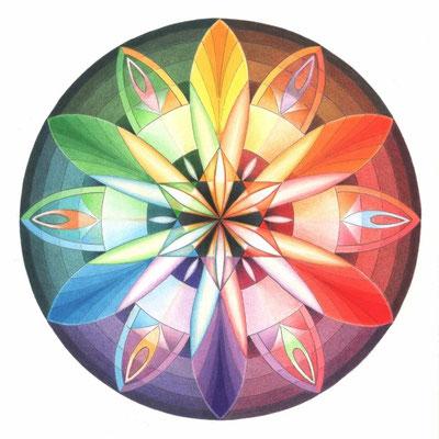 Regenbogen-Mandala  -  Farbstifte -  2012