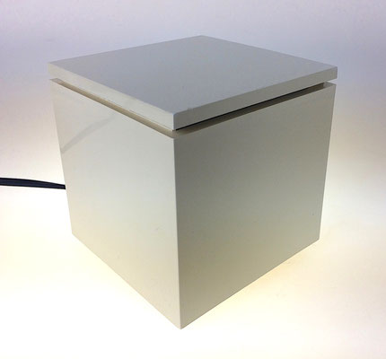 Four inch square light box table lamp.