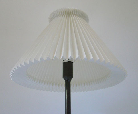 Material: plastic pleated shade by Le Klint. Brass and iron bronzed.